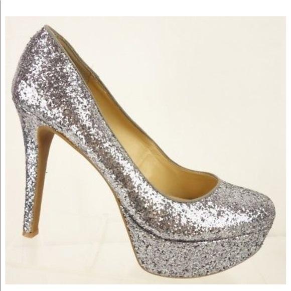 NEW Gianni Bini Silver Glitter Platform Stilettos bdfa932ea
